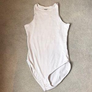 never worn, white high neck pink bodysuit
